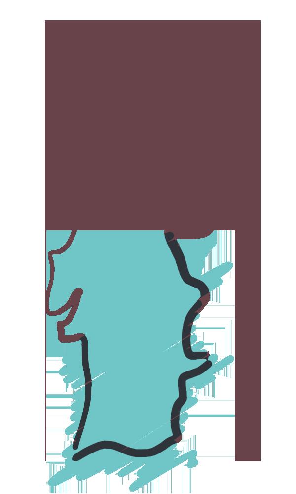 Mapa de Portugal com a zona Sul preenchida
